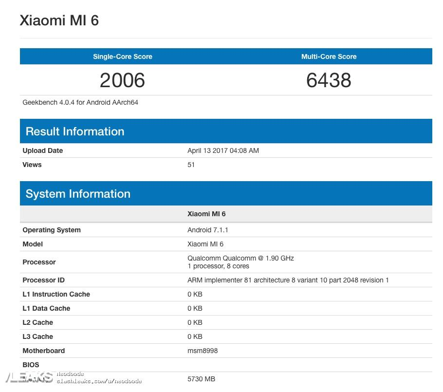 Xiaomi Mi 6 Spotted on Geekbench: Features Snapdragon 835 Chipset, 6GB RAM