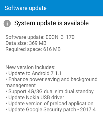 Nokia 6 recieves Android 7.1.1 update