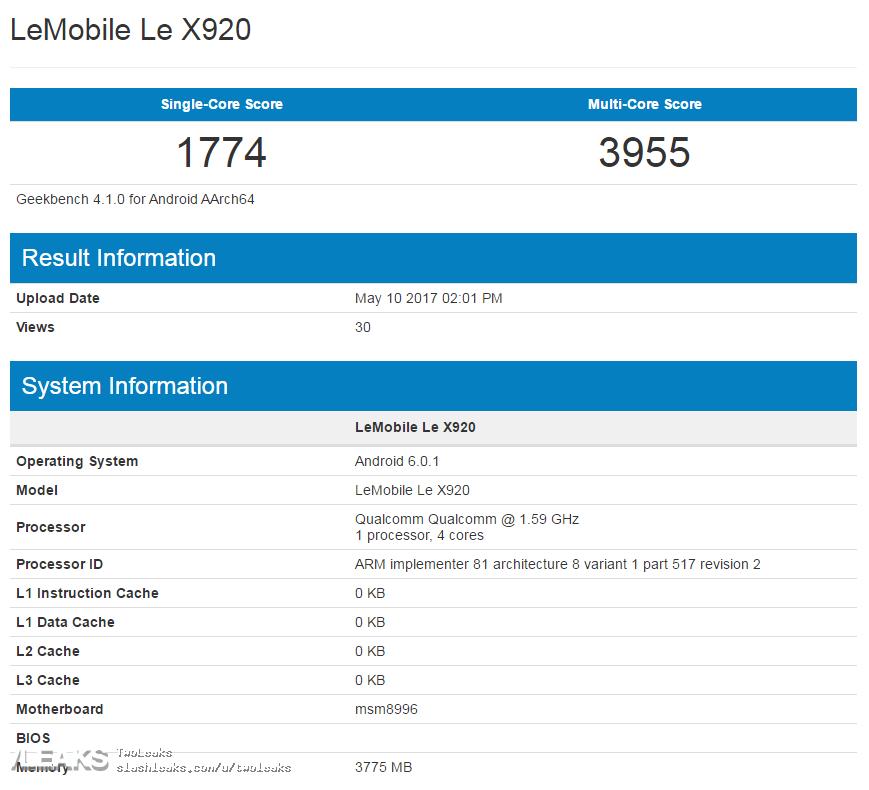 LeEco Le X920 GeekBench